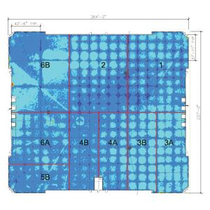 The 3-D laser scan shown here is of the entire 60,000-square-foot floor. The colors represent elevation differences adjusted for the original finish elevations of the floor. Blue is the base elevation, light blue colored areas are 1/8 -inch below base elevation(centers of panels have dropped in elevation), and dark blue represents locations where the elevation is higher than the baseline.