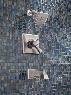 Delta. The company's water-saving H2Okinetic technology acts on water droplet size and velocity as well as thermal dynamics, resulting in a warmer, more drenching shower experience than other low-flow showerheads. It can deliver the feeling of a 2.5-gpm shower at a 1.5-gpm flow rate, decreasing water usage by 40%, the company says. www.deltafaucet.com