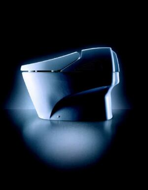 """NEW WAVE: NEOREST is perhaps the most advanced toilet ever introduced. The tankless unit sports a low silhouette, a """"washlet"""" warm-water cleansing unit, and an oscillating spray massage. It also features a heated seat, an automatic catalytic air deodorizer, and a warm-air dryer. The lid automatically opens whenever a user approaches it, and the seat rises as well if the user continues to stand in front of the toilet. When the individual leaves, the unit flushes automatically and the lid closes. The product's Cyclone Flush Engine is designed for high performance, and a dual flush mode conserves water. TOTO USA. 800-350-8686. www.totousa.com."""