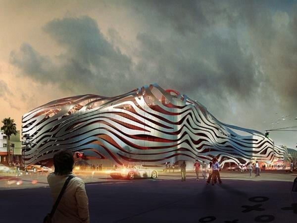 The Petersen Automotive Museum for Los Angeles, designed by Kohn Pedersen Fox Associates. Rendering looking east.
