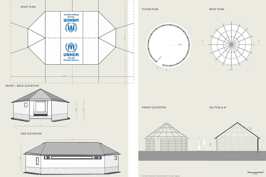 A UNHCR Family Tent (left), and a Tukul Shelter from South Sudan