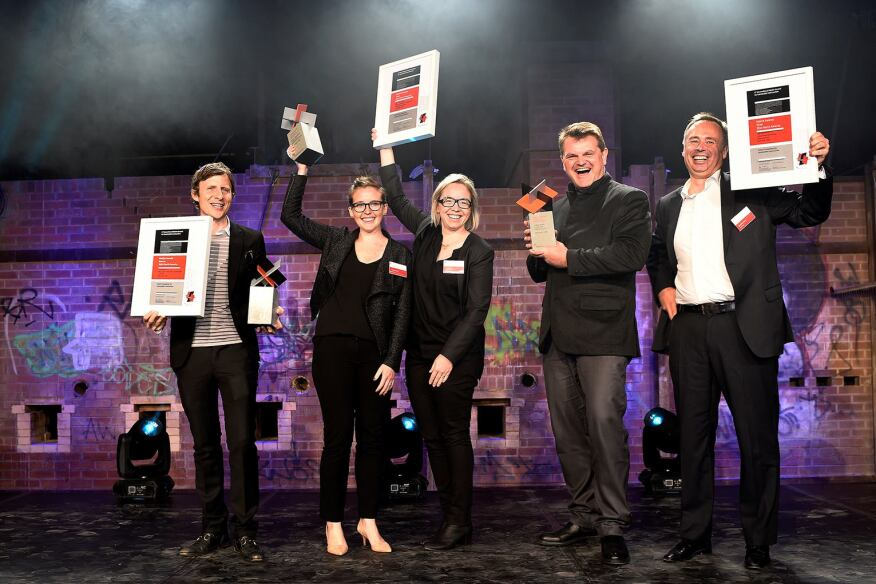 The 2014 Holcim Award winners for North America (l to r): David Benjamin, The Living; Caitlin Gucker-Kanter Taylor and Amy Mielke, Water Pore Partnership; Kai-Uwe Bergmann, Bjarke Ingels Group; Matthijs Bouw, One Architecture