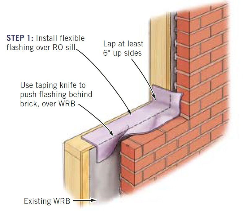 Step 1: Install flashing tape over the RO sill. Let approximately 2 to 3 inches of the flashing lap over the brick sill. Then, using a taping knife, push the flashing down between the brick and the existing WRB.
