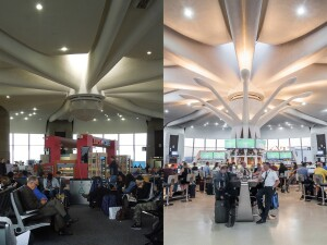 Terminal A before the renovation (left); and after the renovation (right).