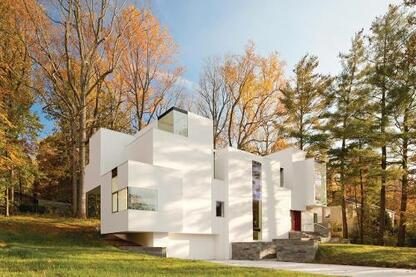 At the NaCl House in Bethesda, Md., Jameson experimented with scale and massing, using forms that resemble the molecular structure of rock salt.