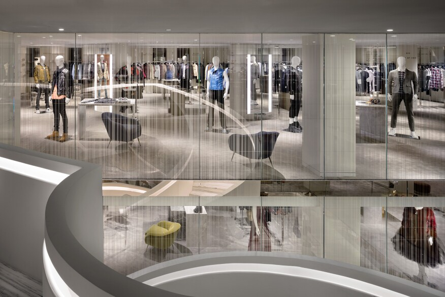 A view looking across the atrium to the Men's Department