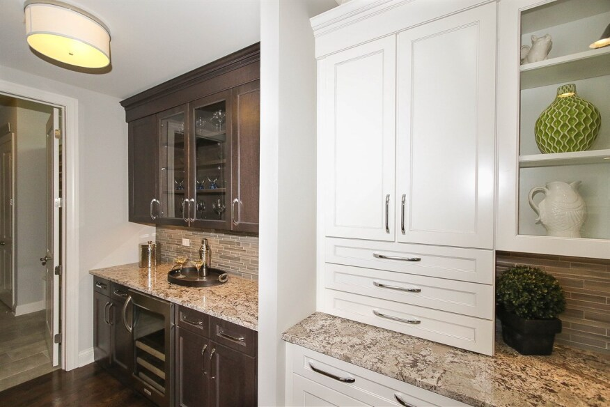 A butler's pantry, such as this one from Meritus Homes' Greenbrook at Highland Woods community, is a convenient feature for holiday entertaining.