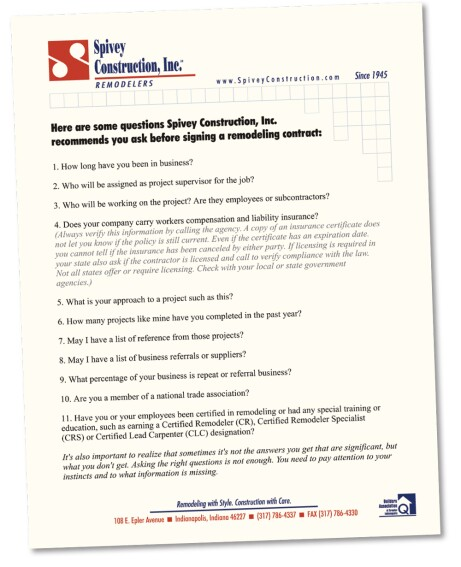 Contractor Comparison Form for Homeowners