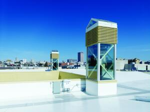 The thermal towers are the core of the natural ventilation system for the San Francisco Friends School.