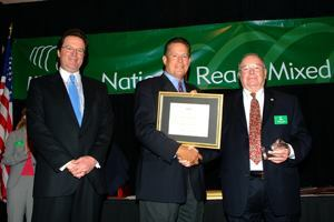 Bill Allen was the first recipient of the NRMCA William B. Allen Award. From left to right are Pierre Villere, NRMCA Chairman Hale Ritchie, and Bill Allen.