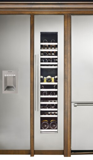 One possible configuration of Thermador's Freedom refrigeration units, incorporating a wine column, full freezer, and refrigerator/freezer combo.