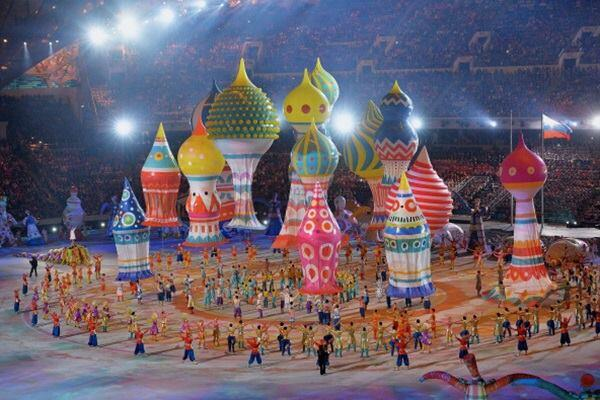 Dancers perform with inflated buildings during the 2014 Sochi Olympic Opening Ceremony.