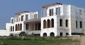 Exterior insulation are clad with conventional methods.