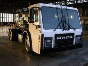 Mack LR model retrofitted with the Wrightspeed Route 1000 powertrain