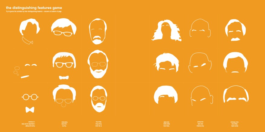 In The Distinguishing Features Game, readers attempt to pair architects with their signatures mustaches, spectacles, and hairstyles (beware the bald category).