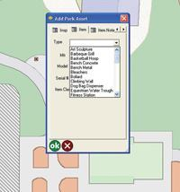 Esri ArcPad screen showing a drop-down box for park asset points. Giving field collectors a list of assets to choose from minimizes the potential for data entry errors and speeds up quality control back in the office. Image: Joel Hillhouse