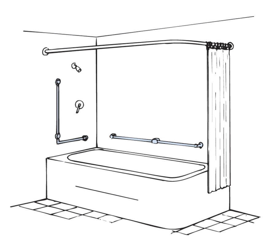 Every tub and shower enclosure needs at least one grab bar to aid access into and out of the unit.