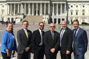 On Capitol Hill (L-R): Hatfield, Petty, Siddiqui, Valentino, Farlow and Gottwald.