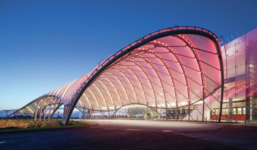 The Yonkers Casino entry features a glowing porte-cochère canopy made of structural steel tubes and ETFE pillows.