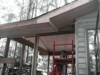To transition the eaves, the horizontal fascia extends to the last rafter tail, and a vertical return finishes the transition.