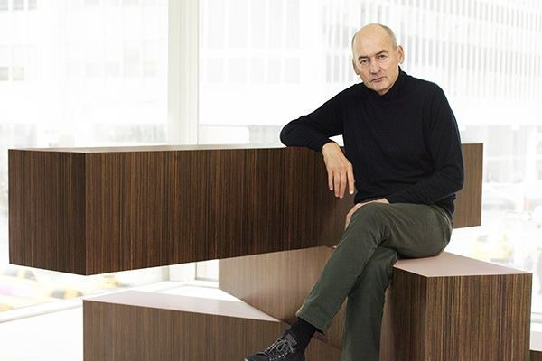 "Rem Koolhaas sits on one of the furniture pieces in the new Knoll collection, ""Tools for Life,"" designed by his firm, OMA."