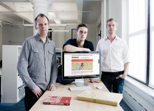 "Supermetric partners (from left to right) Olaf Kreitz, Marco Raab, and Sidney Blank designed the Stackd website with the idea that strangers would connect, then move offline for true interaction. ""People sitting and talking together is still really important,"" Raab says. ""It's experiential."""