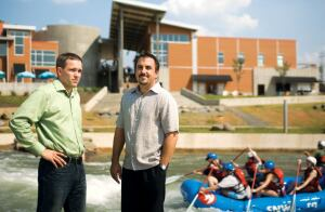 Liquid Design's Michael Williams and Mike Standley at the U.S. National Whitewater Center in Charlotte, N.C.