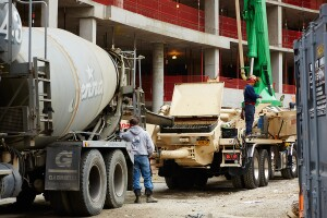 Jenna Concrete trucks deliver concrete to a job site, 2040 Frederick Douglass Boulevard, New York, NY, November 18th, 2015.Yvonne Albinowski /For Commercial Observer