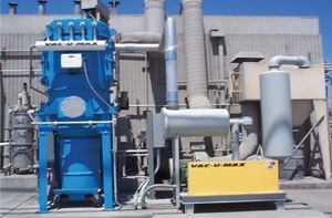 Centralized, continuous duty vacuum systems, like this VAC-U-MAX system at California  Portland Cement Co., are precisely engineered for maximum efficiency  in automated test labs where dust control and accuracy are essential.