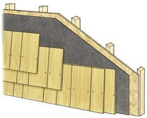 Figure 6. Shingle siding is lapped in a way that means it's penetrated by two, and sometimes three, rows of nails. Because the individual pieces are much smaller than most other sidings, though, replacement of damaged shingles is simplified.