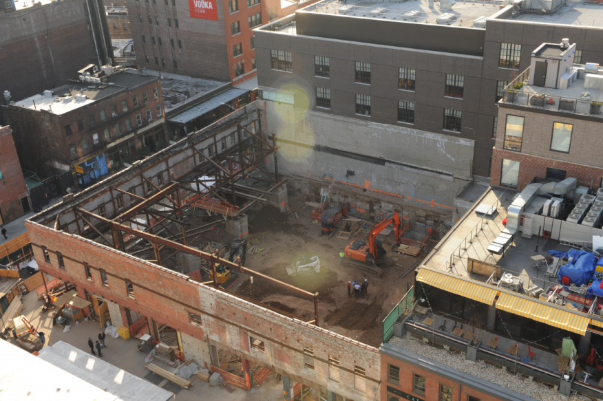 This NYPD photo taken on April 6, 2015, shows the jobsite where construction worker Carlos Moncayo died after supervisors ignored a safety inspector's demand to stop work because of unsafe excavation. (Source: Manhattan District Attorney)