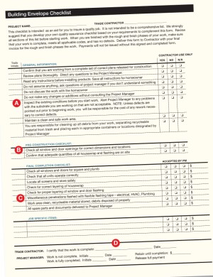 Trade partner checklists remodeling construction for Construction finishing checklist