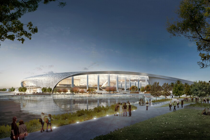 View from the southwest of the proposed Rams stadium in Inglewood, Calif.
