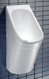 Urinals with funnel-like designs, such as this Caroma model, reduce splashing. Color availability from some manufacturers also plays an important part in selecting a urinal in the home.