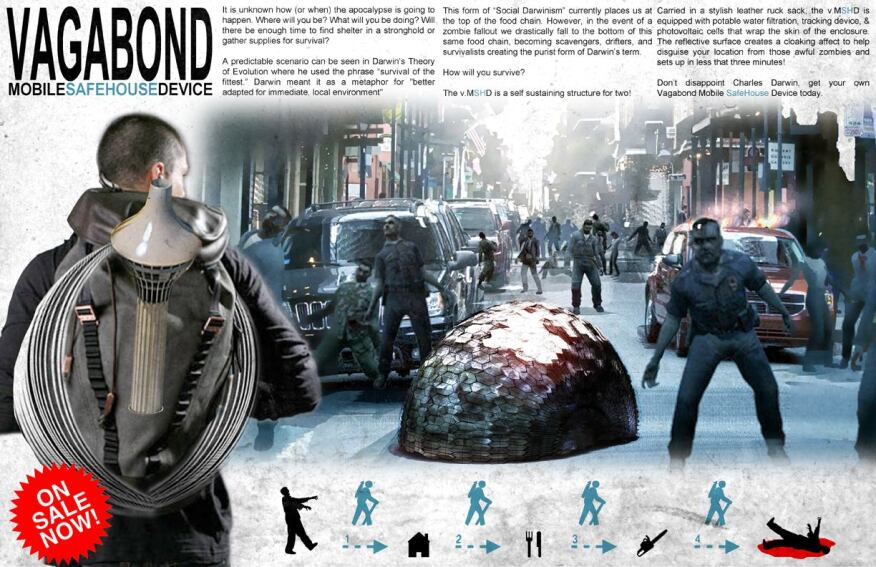 Austin Fleming's winning design from the 2011 competitionwas a backpack module that wraps around you and one other person to disguise your location from the zombies.