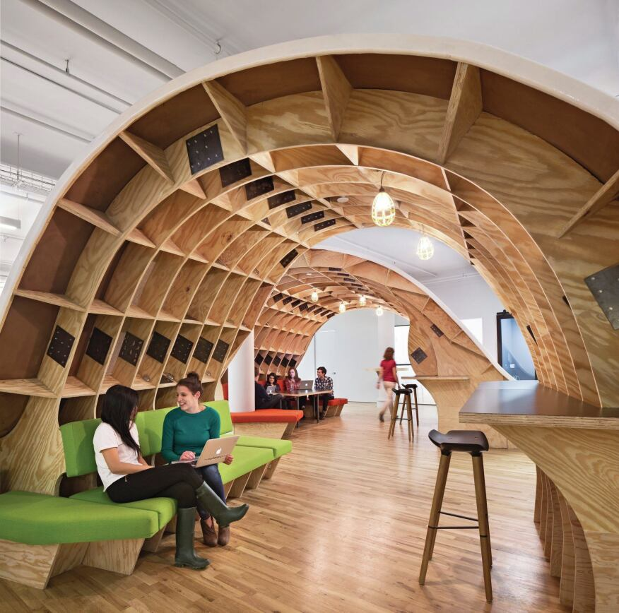 The arches are sheltered from the rest of the office, providing an element of privacy.
