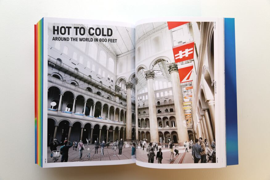 Each page edge features the same climatic color-coding as the exhibition, revealing an easily navigable hot-to-cold spectrum.