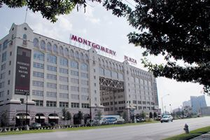 Formerly a Montgomery Ward store and warehouse when it was built in 1928, the eight-story Montgomery Plaza building was coverted into condominiums as part of a larger project to redevelop a 46-acre site.