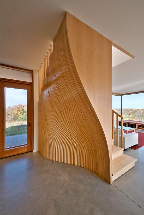 Wood-clad internal stair.