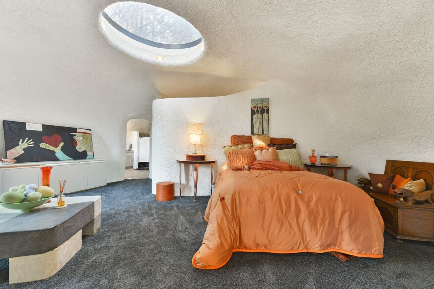 One of the first-floor bedrooms.