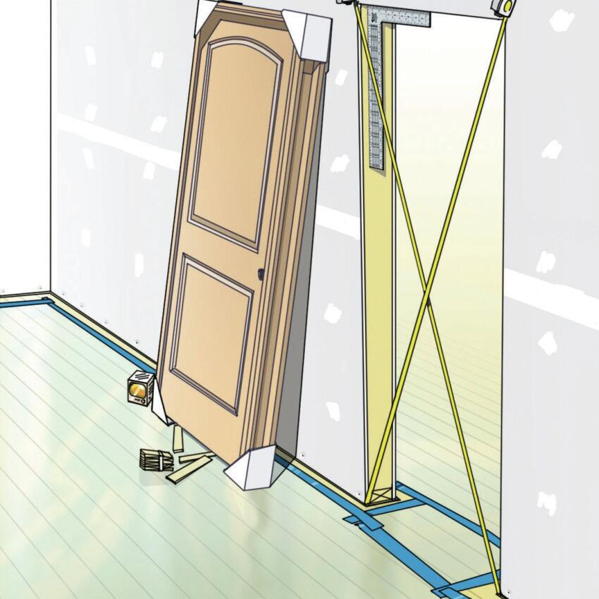 Checking for Square: The test for square is simple. First, stick a framing square in the door corners and see how things look. Then cross-tape the opening. If it's a true rectangle, the diagonal measurements across the opening should be equal.
