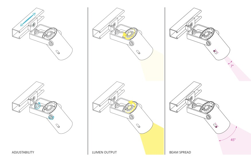 A drawing illustrates the features of the project's custom-designed luminaire.
