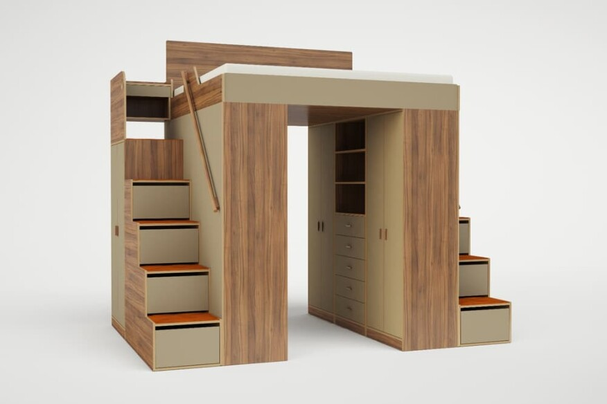 The Urbano king loft bed, shown with two sets of stairs.