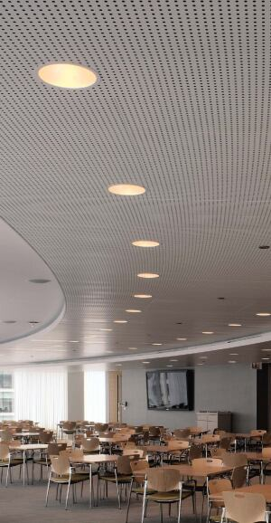 Libretto gridless metal ceiling system  USGwww.usg.com  Gridless, individually fabricated ceiling panels -Hidden steel carrier system Perforations can form a specific pattern or image -No cutting or fitting necessary -Available in flat white, silver satin, and custom colors