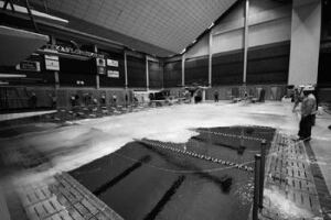 Chloramine  simulation was created by using dry ice skimmed across the surface  of each pool. Simulations were done before and after the systems  were installed.
