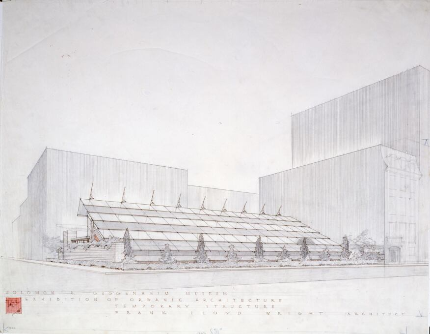 Frank Lloyd Wright, 'Sixty Years of Living Architecture' exhibition building (demolished), New York perspective (presentation drawing), 1953, Graphite and ink on tracing paper.