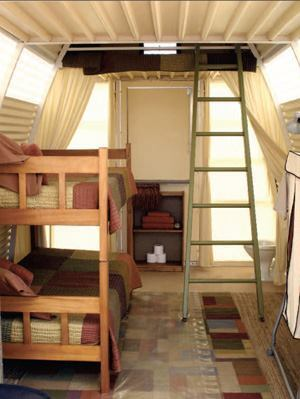 Abod's arched shape allows enough interior height for bunk beds and a sleeping loft.