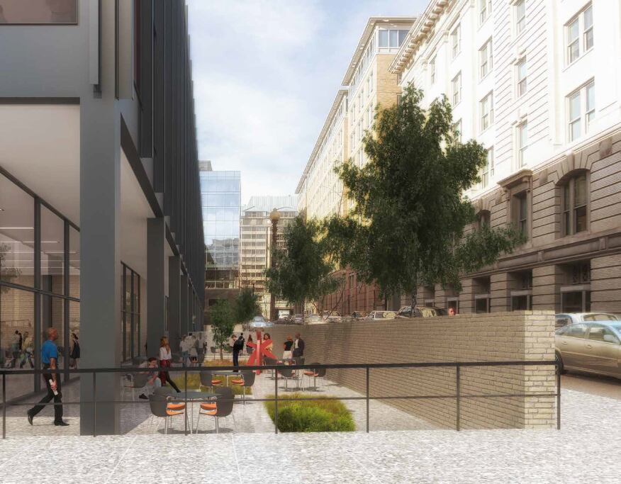 One proposed option for outdoor space on the corner of 9th Street and G Place. (Jan. 2015)