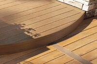 Different Decking - Nylon-composite decking; capped and grooved composite decking; LED lighting