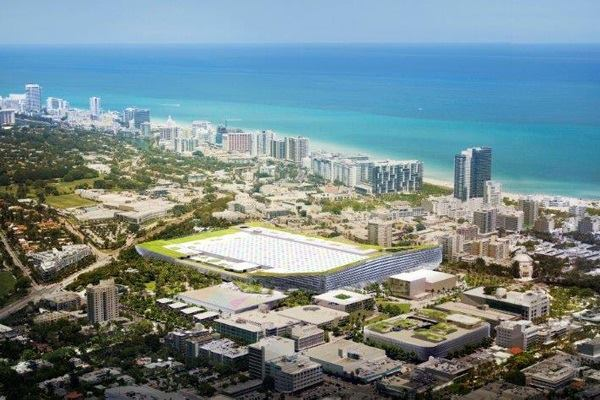 Miami Beach Square proposal from developer Portman-CMC (BIG with West 8, Fentress Architects, and JPA).
